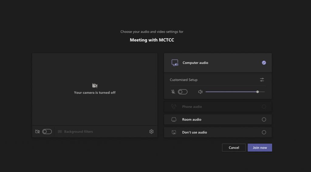 Microsoft Teams joining dialog